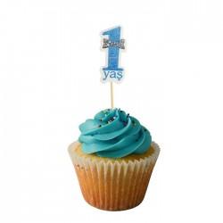 1 Yaş Mavi Cupcake Muffin Kürdanı 20 Adet