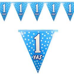 1 Yaş Mavi Puantiyeli Doğum Günü Süsü Afiş Flama 2m