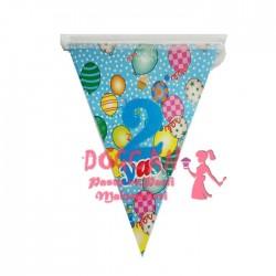 2 Yaş Mavi Balonlu Doğum Günü Süsü Afiş Flama 2m