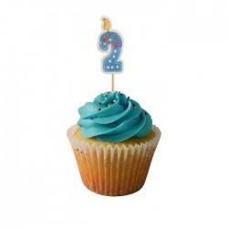 2 Yaş Mavi Cupcake Muffin Kürdanı 20 Adet