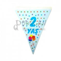 2 Yaş Mavi Doğum Günü Süsü Afiş Flama 2m