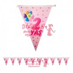 2 Yaş Pembe Balonlu Doğum Günü Süsü Afiş Flama 2m