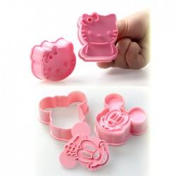 4'lü Set Mickey Mouse ve Hello Kitty Kurabiye ve Şeker Hamuru Kalıbı