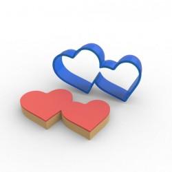 Çiftli Kalp PC Şeker Hamuru ve Kurabiye Kalıbı