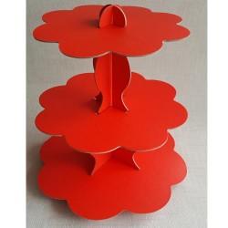 Cupcake Standı Kırmızı Renkli 3 Katlı