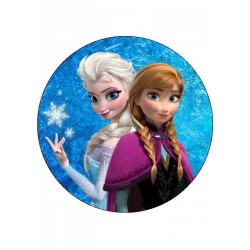 Frozen Elsa&Anna Yenilebilir Yuvarlak Pasta Resim Baskısı