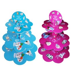 İlk Dişim Çift Taraflı Mavi ve Pembe 3 Katlı Cupcake Standı