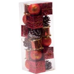 Kırmızı Lüks Çam Ağacı Süsleme Seti