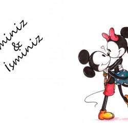 Mickey&Minnie Mouse İsimli Yenilebilir Pasta Resim Baskısı