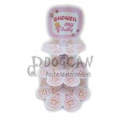 Shower My Baby Pembe 3 Katlı Cupcake Standı