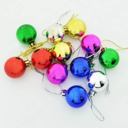 Yılbaşı Çam Ağacı Süsü 12'li Renkli Cici Toplar