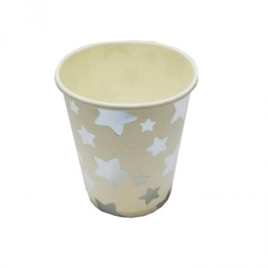 Yıldız Desenli Karton 10'lu Parti Bardağı Gümüş