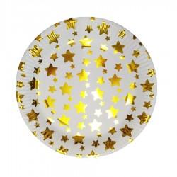 Yıldız Desenli Karton 10'lu Parti Tabağı Altın